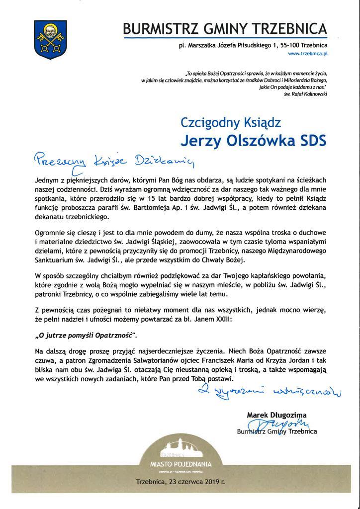 Pożegnanie Ks Dziekana Jerzego Olszówki Sds Gmina Trzebnica